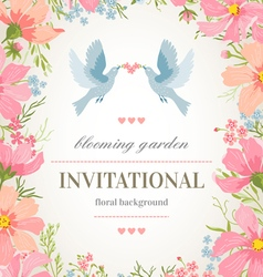 Wedding invitation card with flower frame vector image vector image