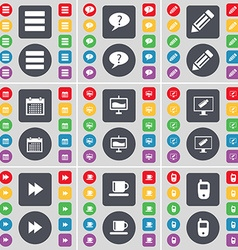 Apps Chat bubble Pencil Calendar Graph Monitor vector image