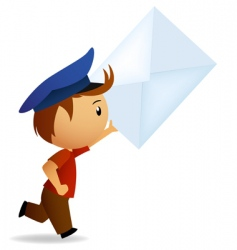 cartoon postman vector image vector image