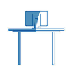 desk computer office work equipment objects vector image