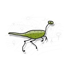 Dinosaur funny sketch for your design vector image vector image