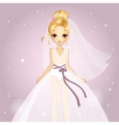 Girl In Princess Wedding Dress vector image
