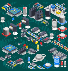 isometric circuit board composition vector image
