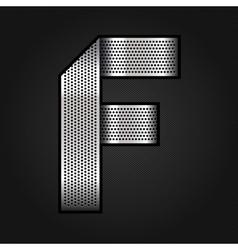 Letter metal chrome ribbon - F vector image vector image