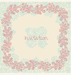 Ornate floral invitation card vector