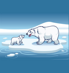 polar bear and her cub standing in the top of the vector image vector image