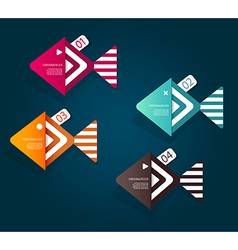 Set of fish shaped paper objects with place for vector image vector image