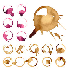 wine and coffee staiin spots splashes cup vector image vector image