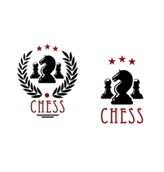 Chess tournament emblems with knights and pawns vector image vector image
