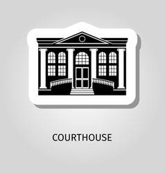 courthouse black building sticker vector image