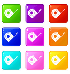 roulette construction tool icons 9 set vector image