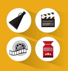 set cinema concept symbol icons vector image