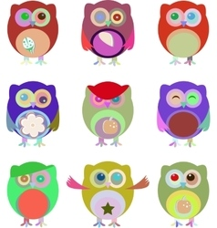 Set of nine cartoon owls with various vector image