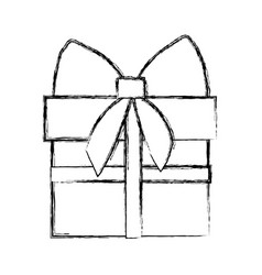 silhouette blurred gift box with ribbon wrapping vector image