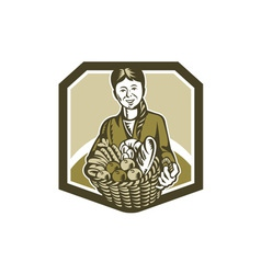 Female Organic Farmer Crop Harvest Woodcut vector image vector image