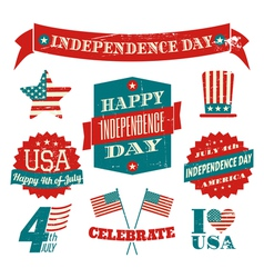 Independence Day VintageDesign Elements Collection vector image vector image