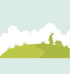 landscape of easter bunny silhouette vector image vector image