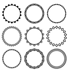 set of round frames in oriental style 3 vector image