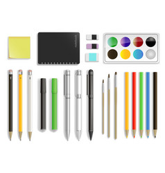 set of stationery in vector image