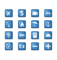 travel icons square vector image vector image
