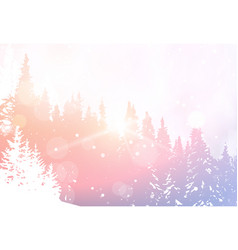 winter landscape snowy forest pine tree woods vector image