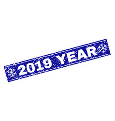 2019 year scratched rectangle stamp seal with vector image