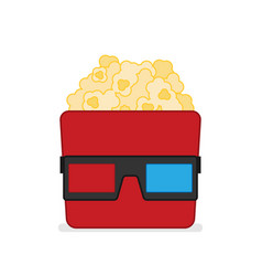 3d glasses and big popcorn flat vector image