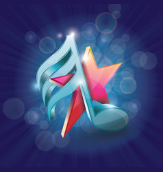 3d shiny colorful musical note with star on vector