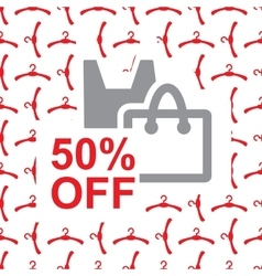 50 percent off text on bag design vector image