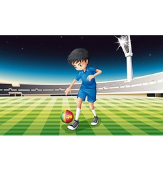 A boy kicking the ball with the flag of Sri Lanka vector