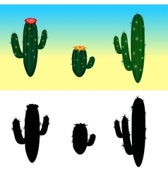 A cartoon cactus set with flowers and vector