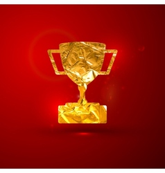 a golden metallic foil champions cup on t vector image