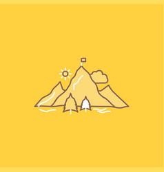 achievement flag mission mountain success flat vector image