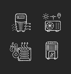 Air heating chalk white icons set on black vector