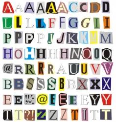 Alphabet cut out paper vector
