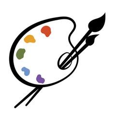 Art palette with paints stylized palette logo vector