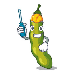 automotive green beans pod isolated on mascot vector image
