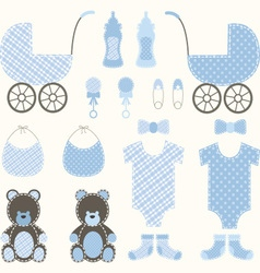Baby shower boy set vector