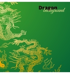 background with asia dragons Hand drawn vector image