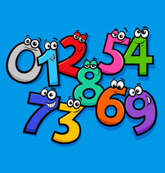 Basic numbers cartoon characters group vector