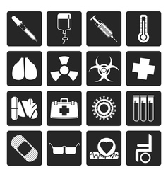 Black collection of medical themed icons vector