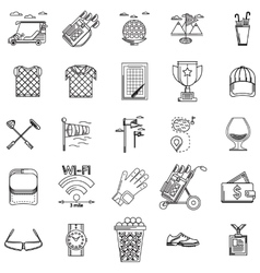 Black contour icons for golf vector