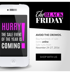 Black friday banner with smartphone vector image vector image