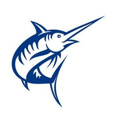 Blue marlin fish jumping vector
