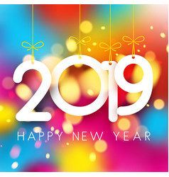 Bright colorful 2019 happy new year poster vector