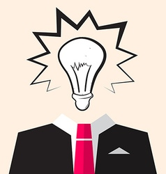 Bulb Icon over Suit vector image