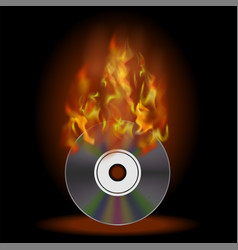 Burning compact disc with fire and flame vector