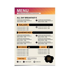 Cafe menu restaurant template design vector image