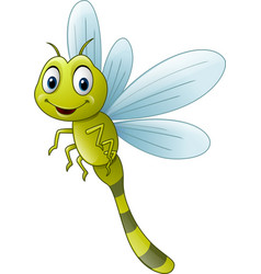 Cartoon dragonfly flying green smile vector