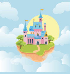 castle in sky fairytale medieval building in vector image